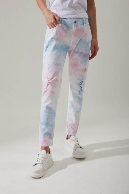 Batik Desenli Denim Pantolon - Thumbnail