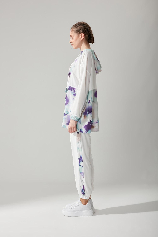 Batik Desenli Beyaz Sweatshirt