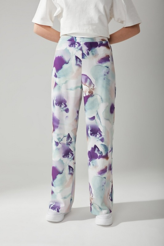 Batikli Desenli Bol Paça Pantolon