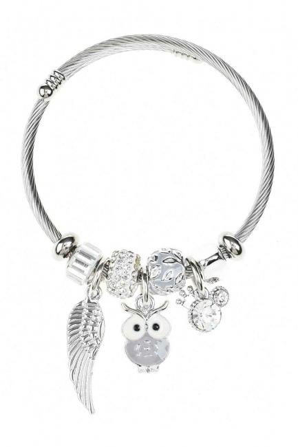 MIZALLE Baykuş Detaylı Pandora Bileklik (Lila)
