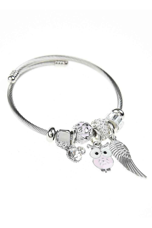 MIZALLE Baykuş Detaylı Pandora Bileklik (Pembe) (1)