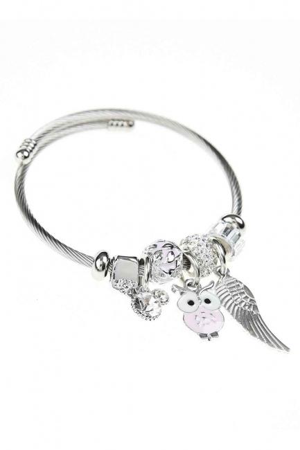 MIZALLE - Owl Shaped Bracelet (Pink) (1)