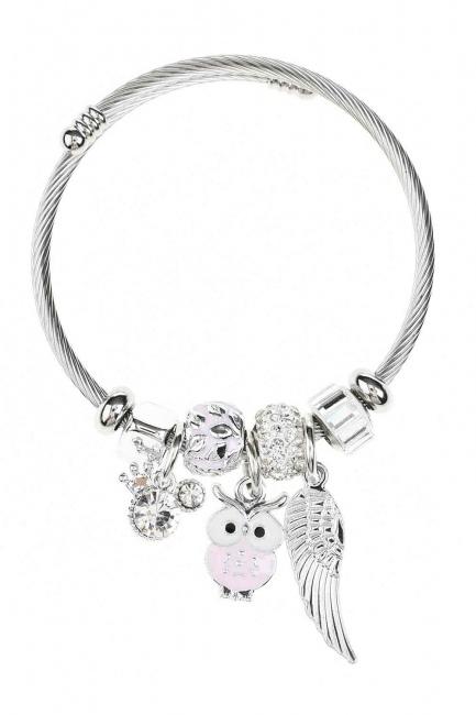 MIZALLE Owl Shaped Bracelet (Pink)