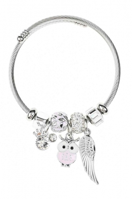 Owl Shaped Bracelet (Pink) - Thumbnail