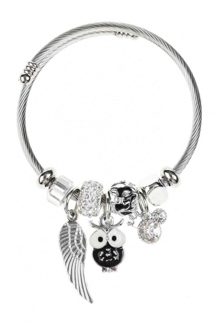 Baykuş Detaylı Pandora Bileklik (Siyah) - Thumbnail
