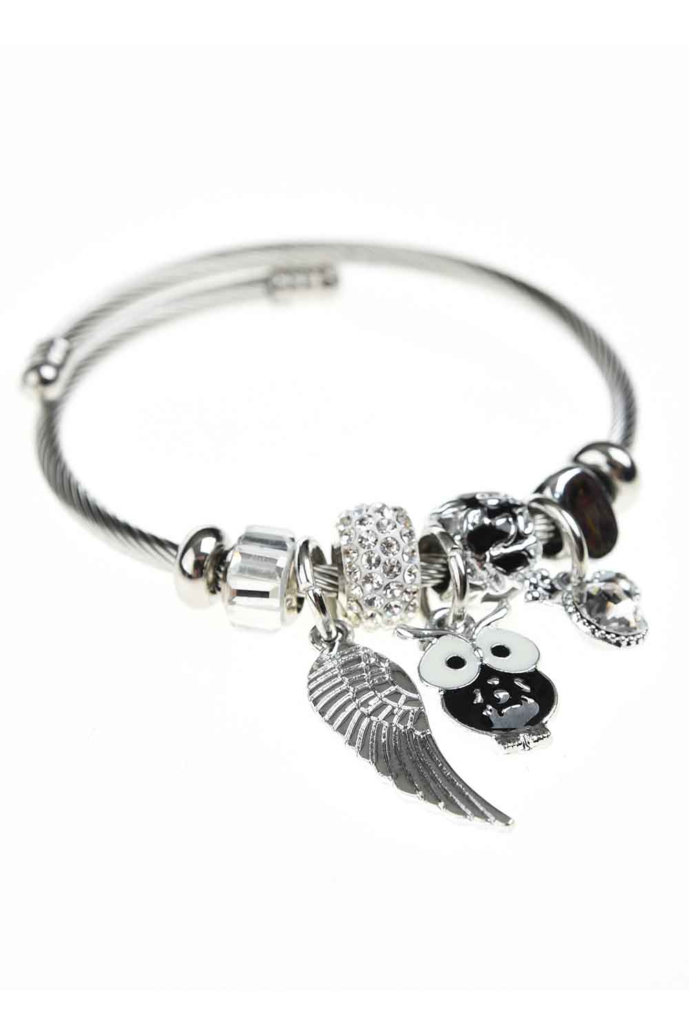 MIZALLE Owl Detailed Bracelet (Black) (1)