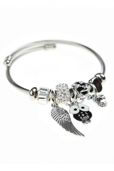 MIZALLE - Owl Detailed Bracelet (Black) (1)