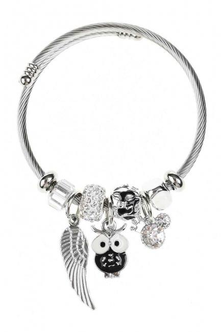 MIZALLE Owl Detailed Bracelet (Black)
