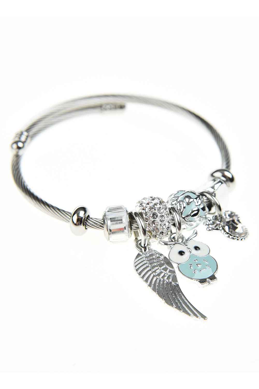 MIZALLE Owl Shaped Bracelet (Green) (1)
