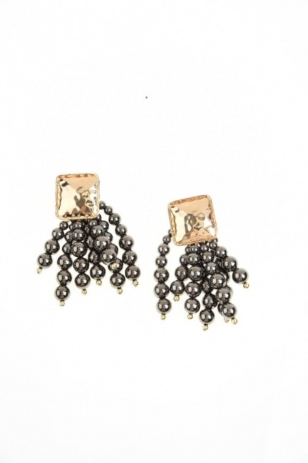 MIZALLE Bead Detailed Earring (Anthracite)