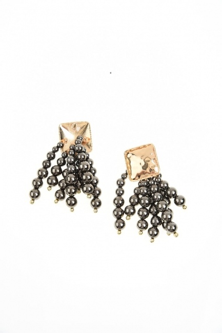 Bead Detailed Earring (Anthracite) - Thumbnail