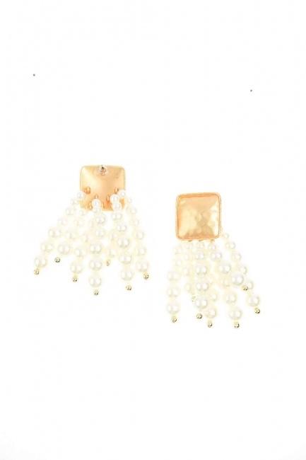 Bead Detailed Earring (Ecru) - Thumbnail