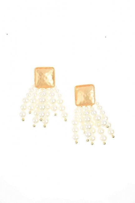 MIZALLE Bead Detailed Earring (Ecru)