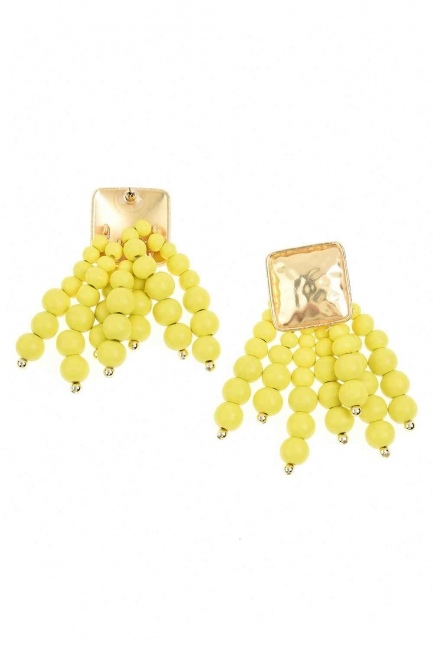 MIZALLE Bead Detailed Earrings (Yellow)