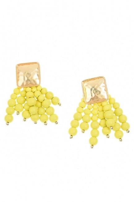 Bead Detailed Earrings (Yellow) - Thumbnail
