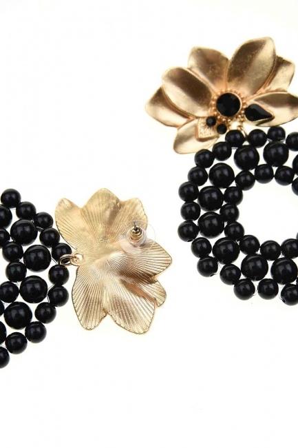Beaded Big Earrings (Black) - Thumbnail