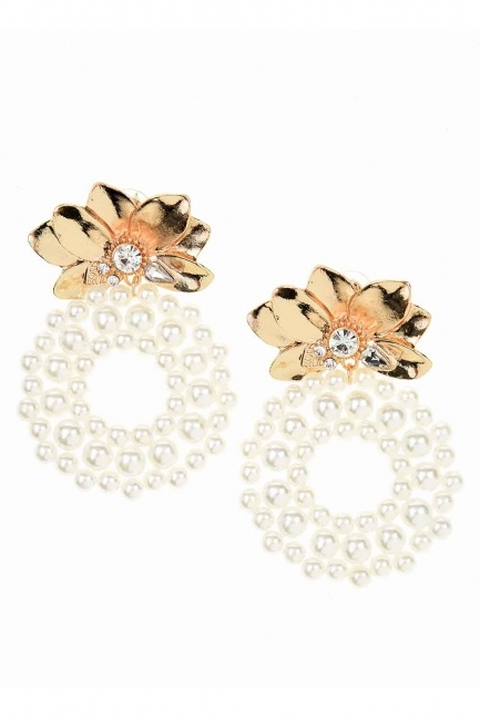 MIZALLE Beaded Big Earrings (Ecru)