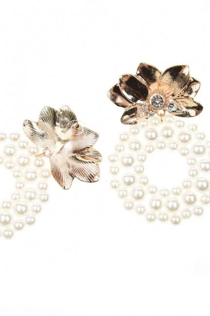 MIZALLE - Beaded Big Earrings (Ecru) (1)