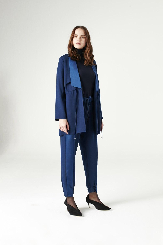 MIZALLE Bel Bağcıklı Ceket (Indigo) (1)