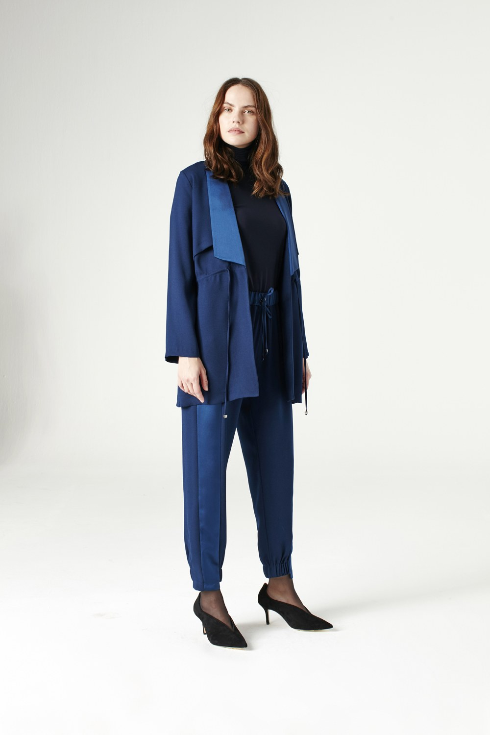 MIZALLE Waist Lace-Up Jacket (Indigo) (1)