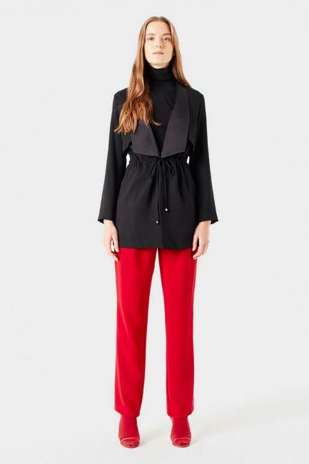 Mizalle - Bel Bağcıklı Ceket (Siyah)