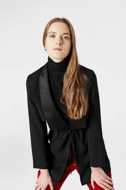 Bel Bağcıklı Ceket (Siyah) - Thumbnail