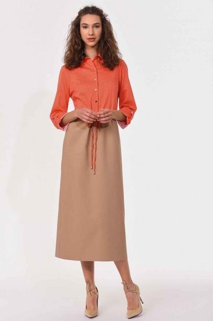 Bel Bağcıklı Gömlek Elbise (Bej/Mercan) - Thumbnail
