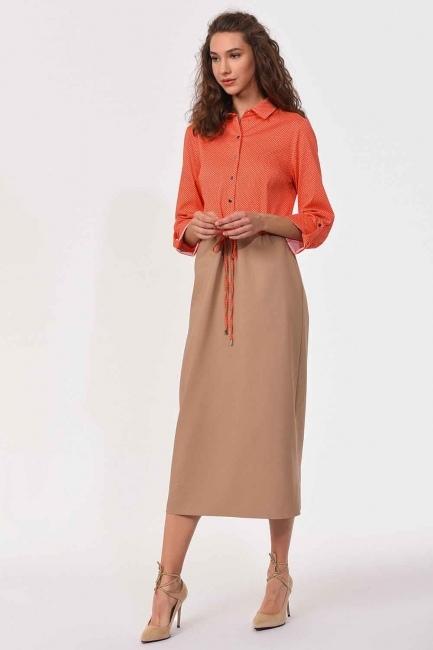 فستان قميص مع الخصر مربوط (البيج / المرجان) - Thumbnail