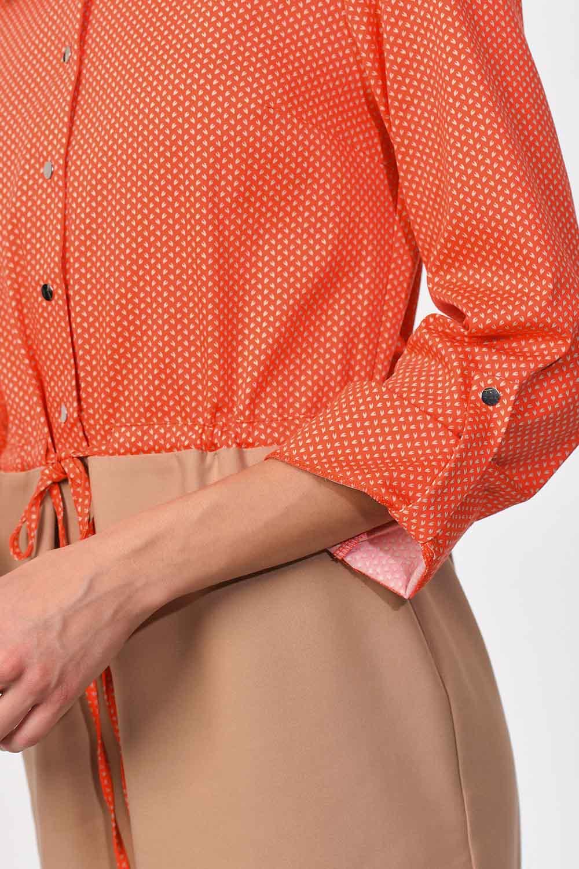 MIZALLE فستان قميص مع الخصر مربوط (البيج / المرجان) (1)