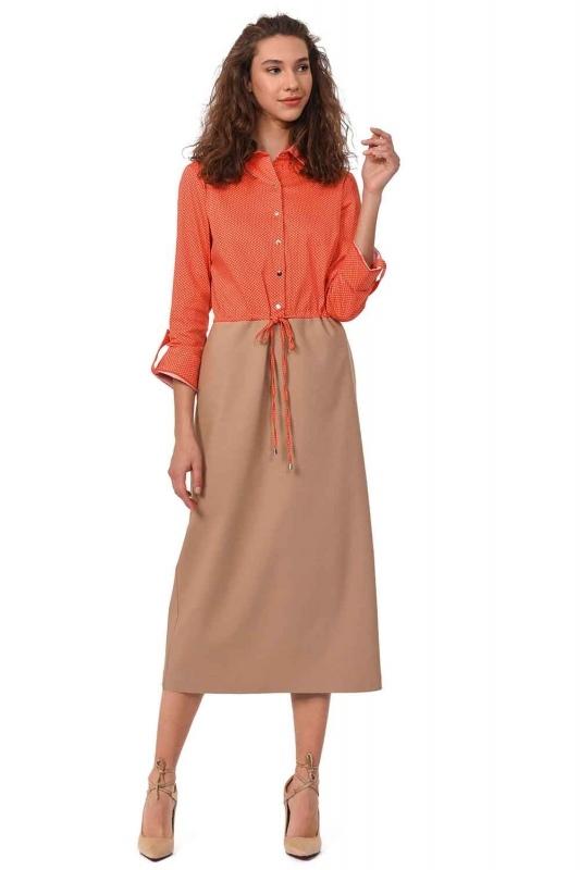Waist Lace Shirt Dress (Beige/Coral)