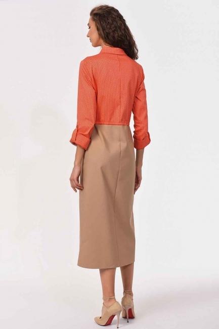 Waist Lace Shirt Dress (Beige/Coral) - Thumbnail
