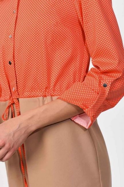 MIZALLE - Waist Lace Shirt Dress (Beige/Coral) (1)