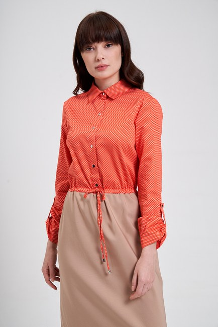 Mizalle - Bel Bağcıklı Gömlek Elbise (Bej/Mercan)