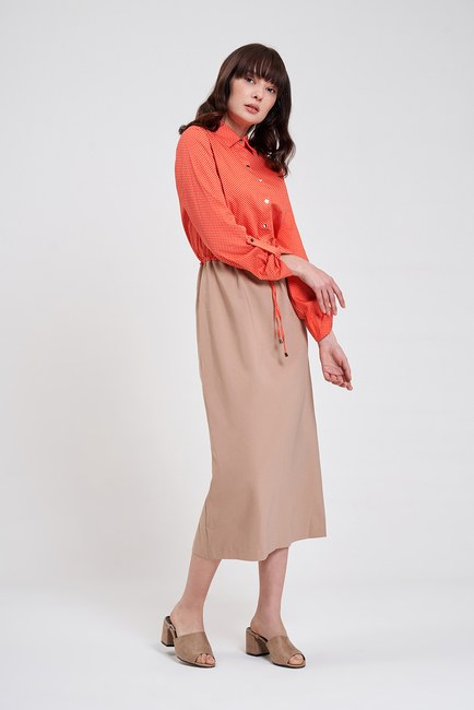 MIZALLE - Bel Bağcıklı Gömlek Elbise (Bej/Mercan) (1)