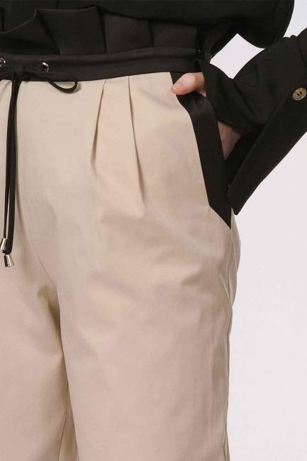 Bel Büzgülü Bağcıklı Pantolon (Bej) - Thumbnail