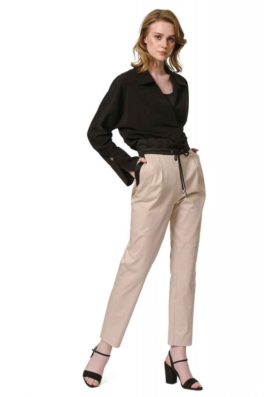 Waist Shirred Lace Trousers (Beige)