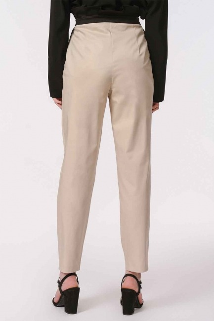 Waist Shirred Lace Trousers (Beige) - Thumbnail