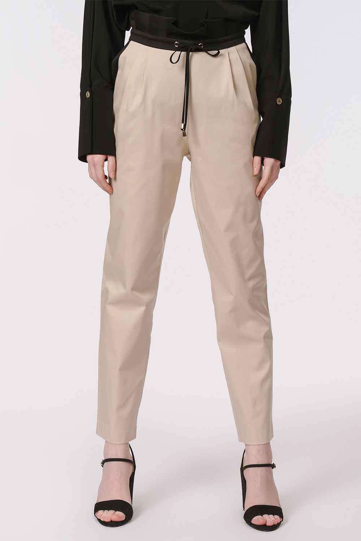 MIZALLE Bel Büzgülü Bağcıklı Pantolon (Bej) (1)