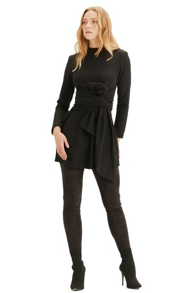 Waist Belted Tunic (Black) - Thumbnail