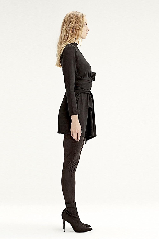 MIZALLE Belden Kuşaklı Tunik (Siyah) (1)