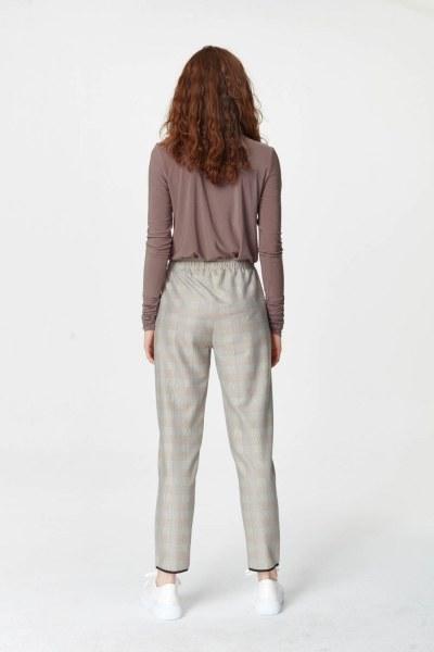 Laced Waist Plaid Trousers (Beige) - Thumbnail
