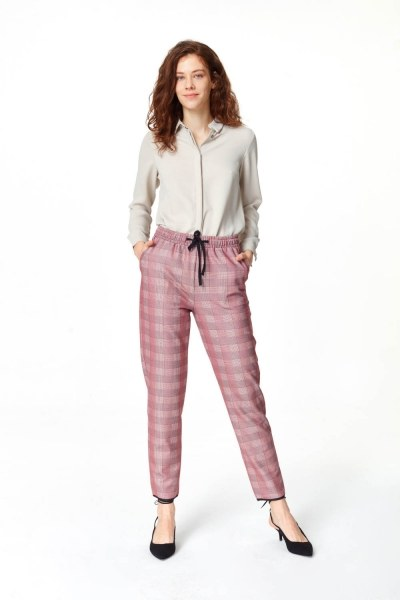 MIZALLE Laced Waist Plaid Trousers (Claret Red)