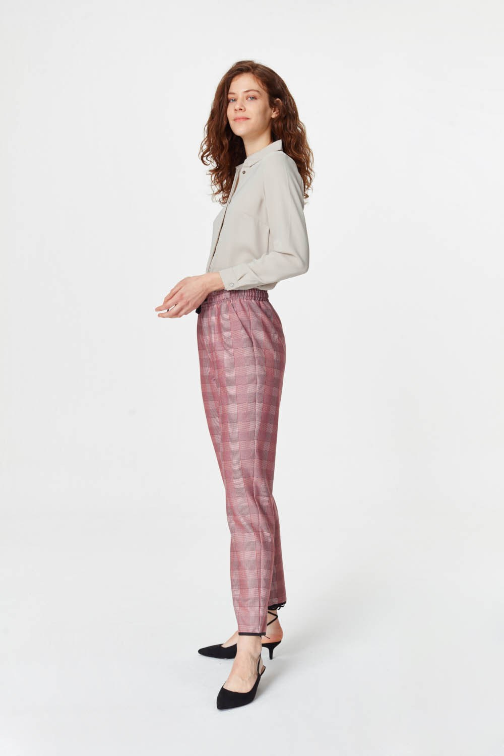 MIZALLE Laced Waist Plaid Trousers (Claret Red) (1)