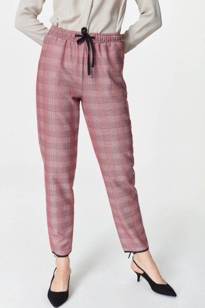 Laced Waist Plaid Trousers (Claret Red) - Thumbnail