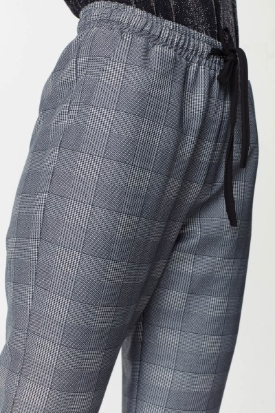 Laced Waist Plaid Trousers (Navy Blue) - Thumbnail
