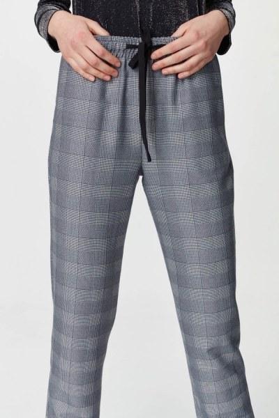 Beli Bağcıklı Ekose Pantolon (Lacivert) - Thumbnail