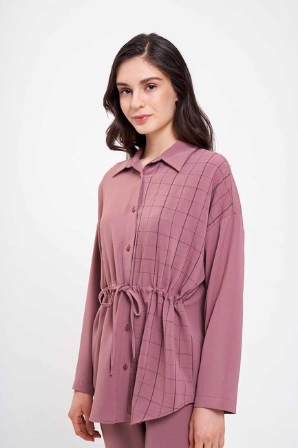Mizalle - Beli Bağcıklı Gömlek (Gül Kurusu)