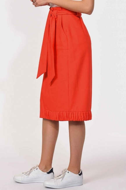 Waist Tied Pocket Detail Skirt (Orange-Red) - Thumbnail