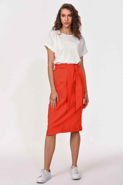 MIZALLE - Waist Tied Pocket Detail Skirt (Orange-Red) (1)