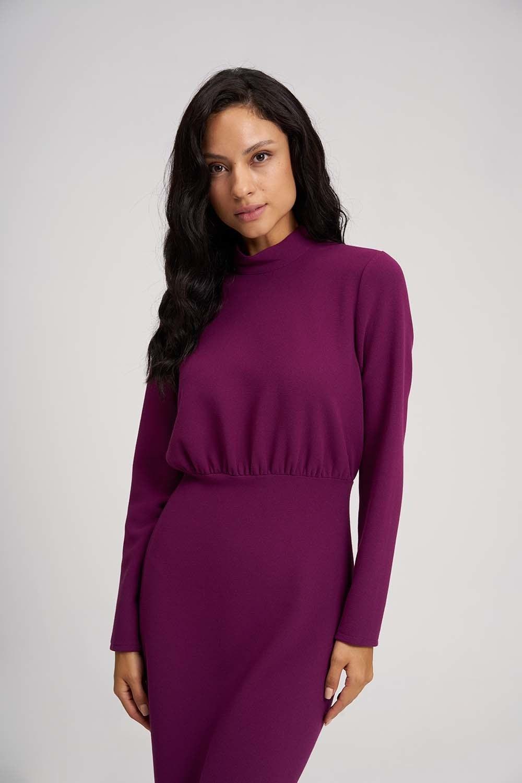 MIZALLE Beli Büzgülü Elbise (Mor) (1)